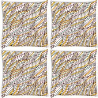 Snoogg Pack Of 4 Lite Color Leaves Digitally Printed Cushion Cover Pillow 10 x 10 Inch