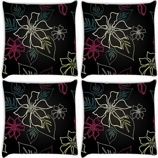 Snoogg Pack Of 4 Floral Sketch Digitally Printed Cushion Cover Pillow 10 x 10 Inch