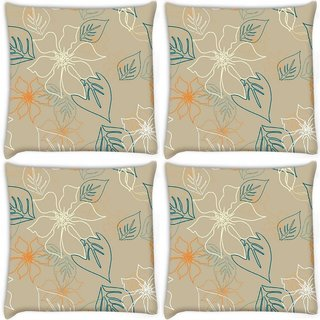 Snoogg Pack Of 4 Floral Sketch Cream Digitally Printed Cushion Cover Pillow 10 x 10 Inch