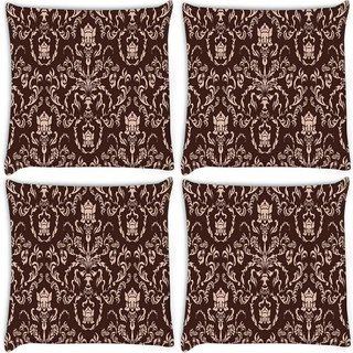 Snoogg Pack Of 4 Cream Pattern Digitally Printed Cushion Cover Pillow 10 x 10 Inch