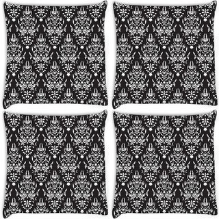 Snoogg Pack Of 4 White Pattern Digitally Printed Cushion Cover Pillow 10 x 10 Inch