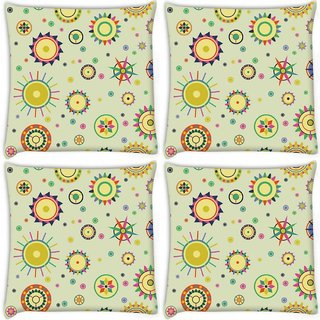 Snoogg Pack Of 4 Abstract Mixed Pattern Digitally Printed Cushion Cover Pillow 10 x 10 Inch