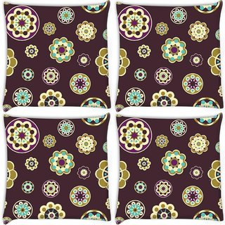 Snoogg Pack Of 4 Maroon Floral Pattern Digitally Printed Cushion Cover Pillow 10 x 10 Inch