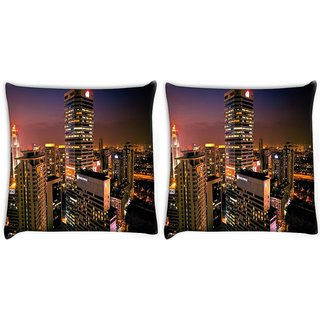 Snoogg Pack Of 2 City View Digitally Printed Cushion Cover Pillow 10 x 10 Inch