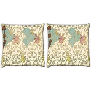 Snoogg Pack Of 2 Abstract Design Aon Digitally Printed Cushion Cover Pillow 10 x 10 Inch