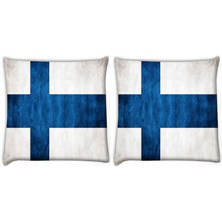 Snoogg Pack Of 2 Blue Cross Digitally Printed Cushion Cover Pillow 10 x 10 Inch