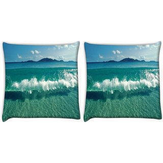 Snoogg Pack Of 2 Sea Waves Digitally Printed Cushion Cover Pillow 10 x 10 Inch