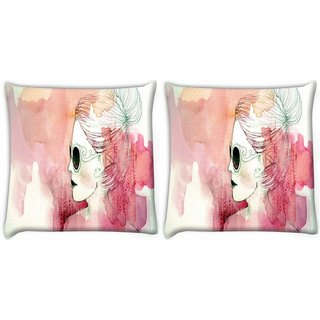 Snoogg Pack Of 2 White Lady Digitally Printed Cushion Cover Pillow 10 x 10 Inch