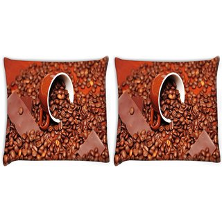 Snoogg Pack Of 2 Chocolate Coffee Digitally Printed Cushion Cover Pillow 10 x 10 Inch