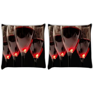 Snoogg Pack Of 2 Wine Glasses Digitally Printed Cushion Cover Pillow 10 x 10 Inch