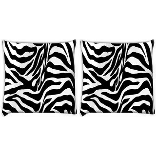 Snoogg Pack Of 2 Zebra Skin Digitally Printed Cushion Cover Pillow 10 x 10 Inch