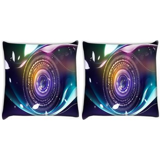 Snoogg Pack Of 2 Mechanism Of Eye Digitally Printed Cushion Cover Pillow 10 x 10 Inch