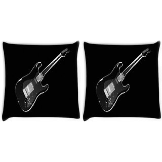 Snoogg Pack Of 2 Black Guitar Digitally Printed Cushion Cover Pillow 10 x 10 Inch