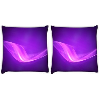 Snoogg Pack Of 2 Neon Purple Wave Digitally Printed Cushion Cover Pillow 10 x 10 Inch