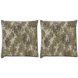 Snoogg Pack Of 2 Abstract Rose Art Digitally Printed Cushion Cover Pillow 10 x 10 Inch