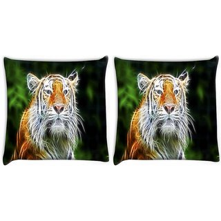 Snoogg Pack Of 2 Abstract Neon Tiger Digitally Printed Cushion Cover Pillow 10 x 10 Inch