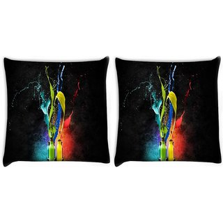 Snoogg Pack Of 2 Bottles Of Colors Digitally Printed Cushion Cover Pillow 10 x 10 Inch