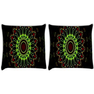 Snoogg Pack Of 2 Neon Colorful Chakra Design Digitally Printed Cushion Cover Pillow 10 x 10 Inch