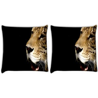 Snoogg Pack Of 2 Leopard Crying Digitally Printed Cushion Cover Pillow 10 x 10 Inch