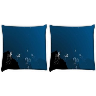 Snoogg Pack Of 2 Deep Sea Hunting Digitally Printed Cushion Cover Pillow 10 x 10 Inch