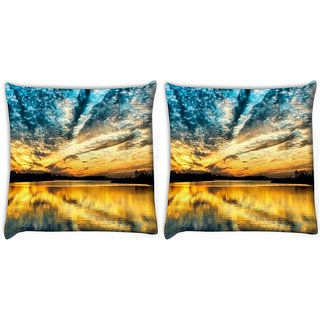 Snoogg Pack Of 2 Desktop Nature Digitally Printed Cushion Cover Pillow 10 x 10 Inch
