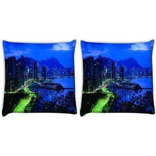 Snoogg Pack Of 2 City At Night Digitally Printed Cushion Cover Pillow 10 x 10 Inch