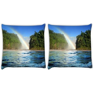 Snoogg Pack Of 2 Nature View Rainbow Digitally Printed Cushion Cover Pillow 10 x 10 Inch