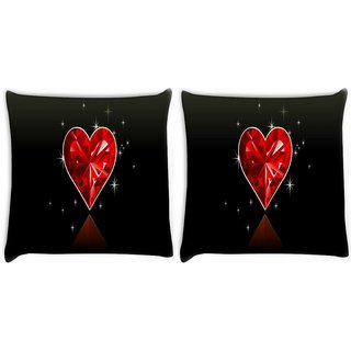 Snoogg Pack Of 2 Diamond Heart Digitally Printed Cushion Cover Pillow 10 x 10 Inch