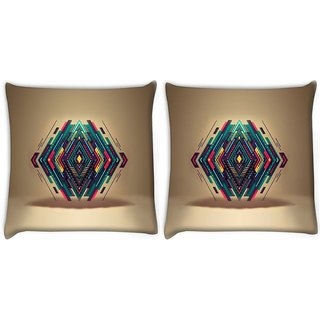 Snoogg Pack Of 2 Diamond Shape Abstract Digitally Printed Cushion Cover Pillow 10 x 10 Inch