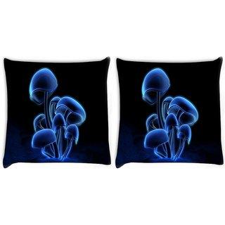 Snoogg Pack Of 2 Digital Blasphemy Mushroom Digitally Printed Cushion Cover Pillow 10 x 10 Inch