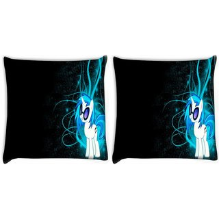 Snoogg Pack Of 2 Dj Vinyl Scratch Digitally Printed Cushion Cover Pillow 10 x 10 Inch