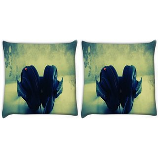 Snoogg Pack Of 2 Dj Music Digitally Printed Cushion Cover Pillow 10 x 10 Inch