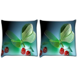 Snoogg Pack Of 2 Green Cyrstal Fly Digitally Printed Cushion Cover Pillow 10 x 10 Inch