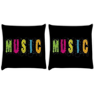 Snoogg Pack Of 2 Music Digitally Printed Cushion Cover Pillow 10 x 10 Inch