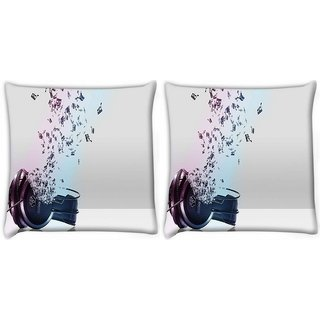 Snoogg Pack Of 2 Music Comes From The Headphones Digitally Printed Cushion Cover Pillow 10 x 10 Inch