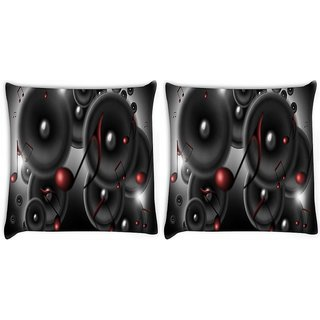 Snoogg Pack Of 2 Music Speakers Digitally Printed Cushion Cover Pillow 10 x 10 Inch