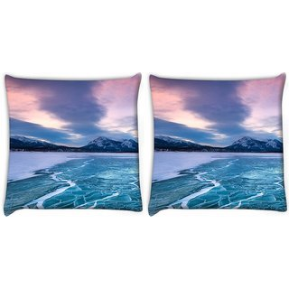 Snoogg Pack Of 2 Nature Frozen Sea Digitally Printed Cushion Cover Pillow 10 x 10 Inch