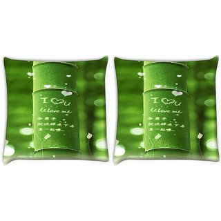 Snoogg Pack Of 2 I Love You Digitally Printed Cushion Cover Pillow 10 x 10 Inch