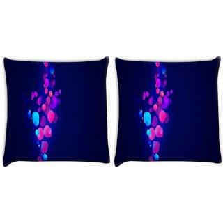 Snoogg Pack Of 2 Neon Bubbles Digitally Printed Cushion Cover Pillow 10 x 10 Inch