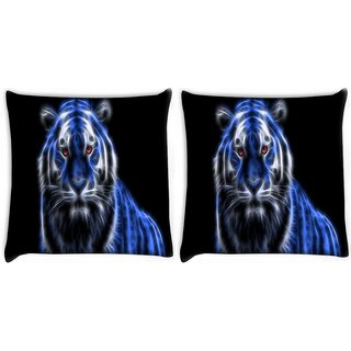 Snoogg Pack Of 2 Neon Tiger Digitally Printed Cushion Cover Pillow 10 x 10 Inch