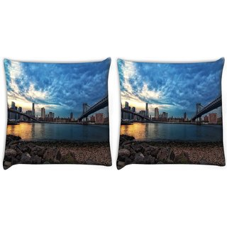 Snoogg Pack Of 2 New York Lake View Digitally Printed Cushion Cover Pillow 10 x 10 Inch