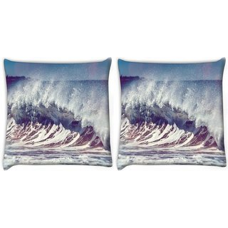 Snoogg Pack Of 2 Ocean Scream Digitally Printed Cushion Cover Pillow 10 x 10 Inch