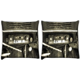 Snoogg Pack Of 2 Old Car Radio Digitally Printed Cushion Cover Pillow 10 x 10 Inch