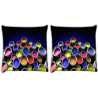 Snoogg Pack Of 2 Range Of Colours Digitally Printed Cushion Cover Pillow 10 x 10 Inch