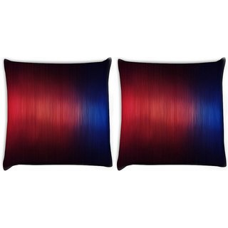 Snoogg Pack Of 2 Woollen Red Blue Design Digitally Printed Cushion Cover Pillow 10 x 10 Inch