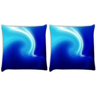 Snoogg Pack Of 2 White And Blue Design Digitally Printed Cushion Cover Pillow 10 x 10 Inch