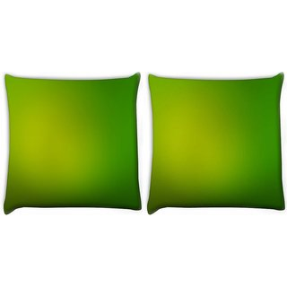 Snoogg Pack Of 2 Leavy Green Design Digitally Printed Cushion Cover Pillow 10 x 10 Inch