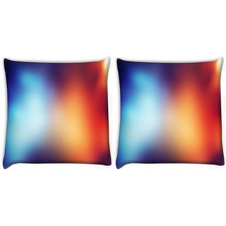 Snoogg Pack Of 2 Blue And Orange Faded Design Digitally Printed Cushion Cover Pillow 10 x 10 Inch