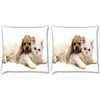 Snoogg Pack Of 2 Puppy With Persian Cat Digitally Printed Cushion Cover Pillow 10 x 10 Inch