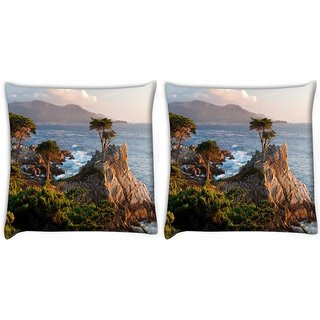 Snoogg Pack Of 2 Trees Near The Sea Digitally Printed Cushion Cover Pillow 10 x 10 Inch